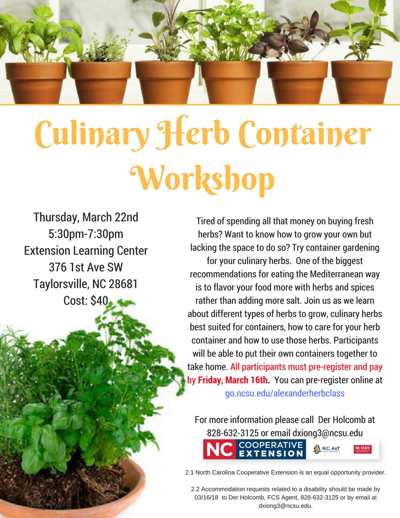 Culinary Herb Container Workshop poster