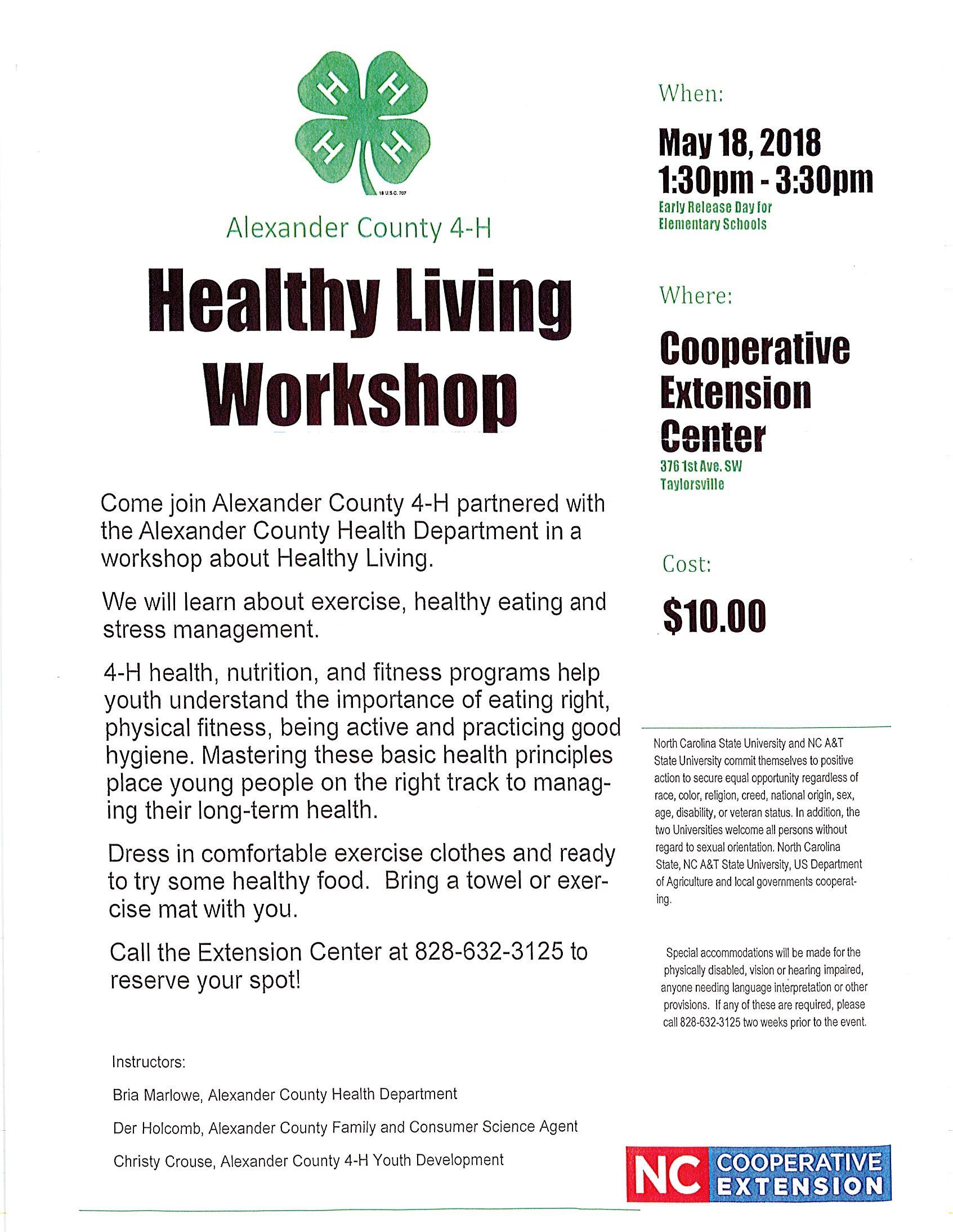 Healthy Living Workshop flyer