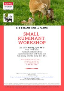 Cover photo for Big Dreams, Small Farms- Small Ruminant Workshop
