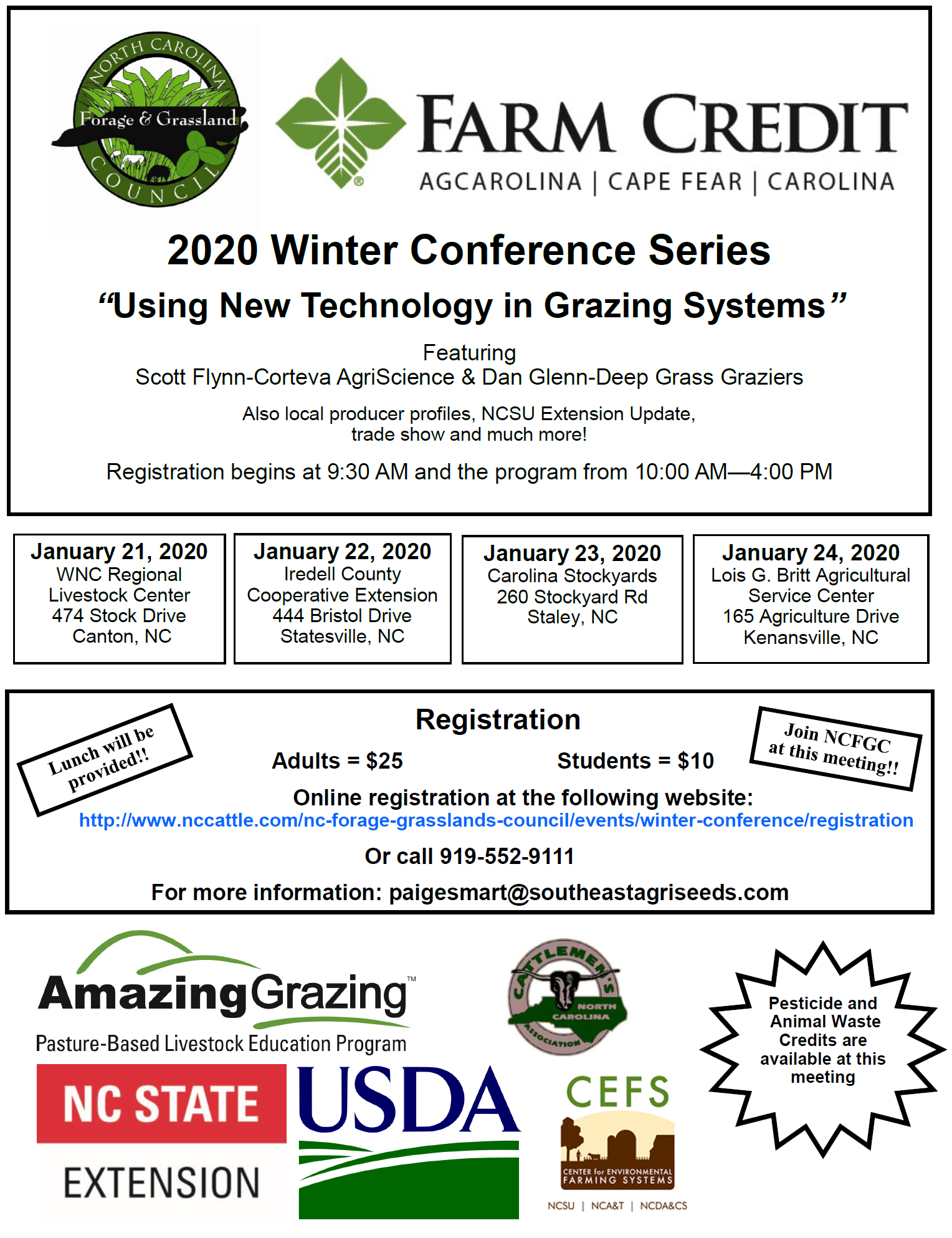 winter conference series flyer, grazing, new technology in grazing systems