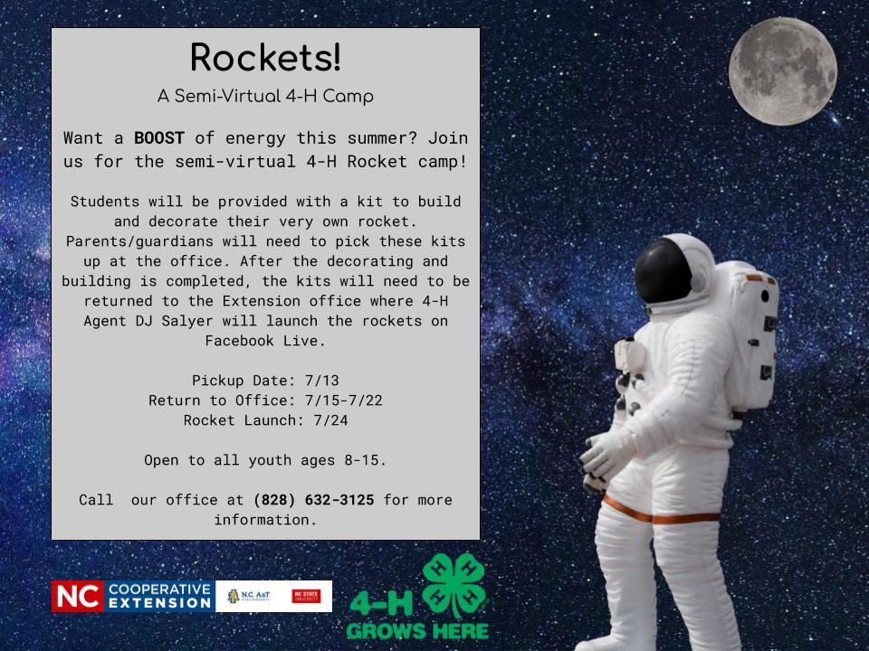 Virtual 4-H Rocket camp flyer