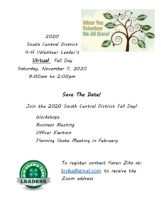 Cover photo for 2020 South Central District 4-H Volunteer Leaders Fall Day